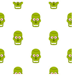 Green zombie skull pattern seamless vector