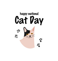 greeting card with text happy national cat day vector image
