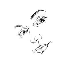 Hand-drawn art portrait of white-skin romantic vector