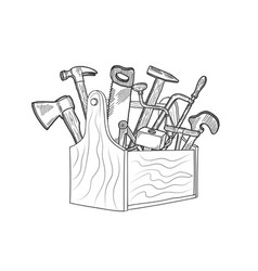 Hand drawn woodwork equipment in wooden vector