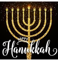 happy Hanukkah gold vector image