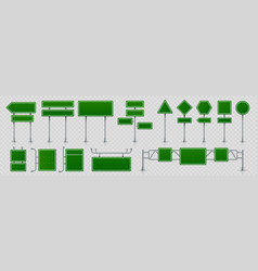 highway signs green pointers on road traffic vector image