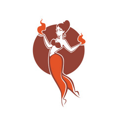 indian girl dancing with fire image for your vector image