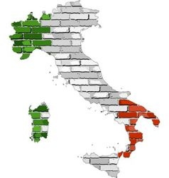 Italy map on a brick wall vector image