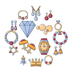 Jewelry shop icons set cartoon style vector
