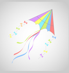 kite on white with colorful ribbons vector image