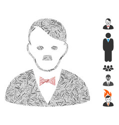 Line mosaic hitler manager icon vector