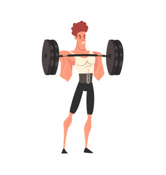 Man exercising with barbell professional vector