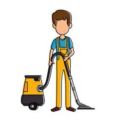 Man with vacuum avatar vector