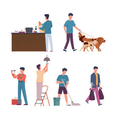 men domestic affairs housekeeping concept male vector image