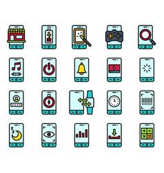 Mobile application icon set 3 filled stye vector