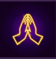 Namaste hands neon sign vector