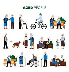 Old Age People Set vector
