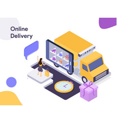 online delivery isometric modern flat design vector image