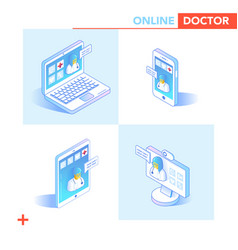 Online healthcare isometric concept medical vector