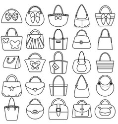Outline women handbag icon set fashion bag design vector