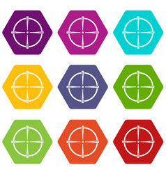 paintball gun sight icons set 9 vector image