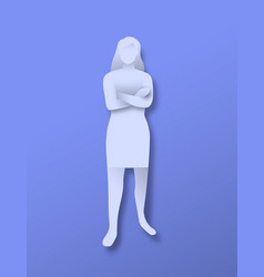 Papercut girl full body character with arm crossed vector