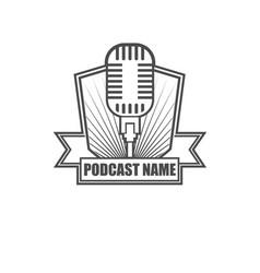 podcast badge logo design vector image