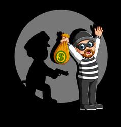 Police officer arrest robber vector