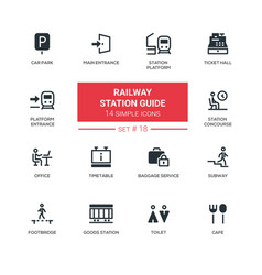 railway station guide - modern simple icons vector image