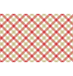 Red beige check diagonal fabric texture background vector