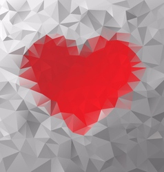red heart polygonal triangular pattern background vector image