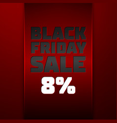Red ribbon with black friday sale eight percent vector