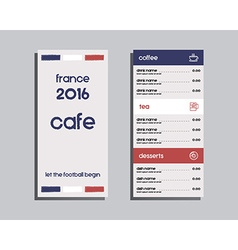 Restaurant and cafe menu Flat design France 2016 vector image