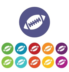 Rugby ball icon set vector