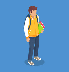 Schoolboy from secondary school with backpack vector