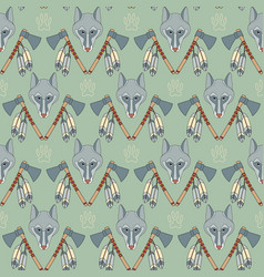 Seamless native american pattern with wolves vector