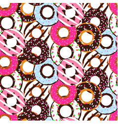 seamless pattern with glazed donuts sweet vector image