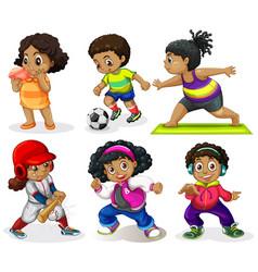 Set african kids vector