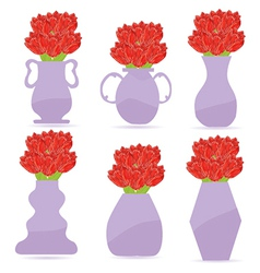 Set of flowers in a vase vector