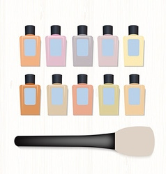 Set of realistic foundation different colors and vector image
