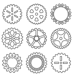 Silhouette of mechanical Cogs and Gear Wheel Set vector