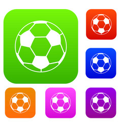 soccer ball set color collection vector image