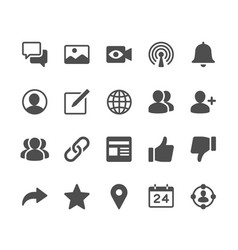 social network glyph icons vector image