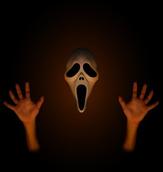 Spooky halloween mask with human hand vector