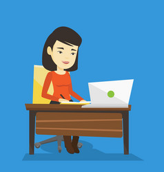 Student using laptop for education vector