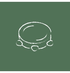 Tambourine icon drawn in chalk vector