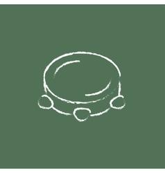 Tambourine icon drawn in chalk vector image