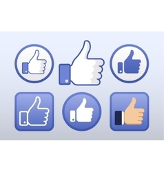Thumb up like icons set social network vector image