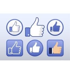 thumb up like icons set social network vector image