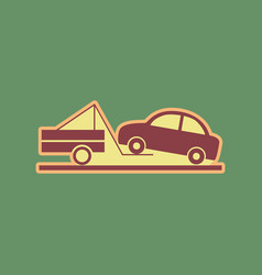 Tow truck sign cordovan icon and mellow vector