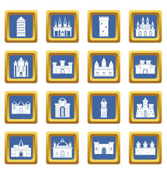 Towers and castles icons set blue vector