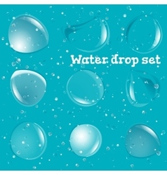 Transparent Pure Clear Water Drops Realistic Set vector image