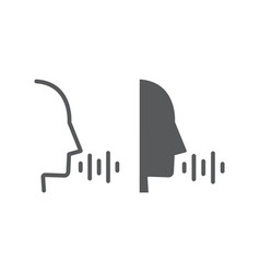 Voice control line and glyph icon technology vector