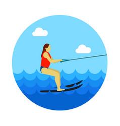 water skiing icon summer vacation vector image